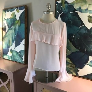 Tops - Pink Bell Sleeve Long Sleeve Blouse